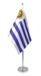 Uruguay Desk / Table Flag with chrome stand and base.